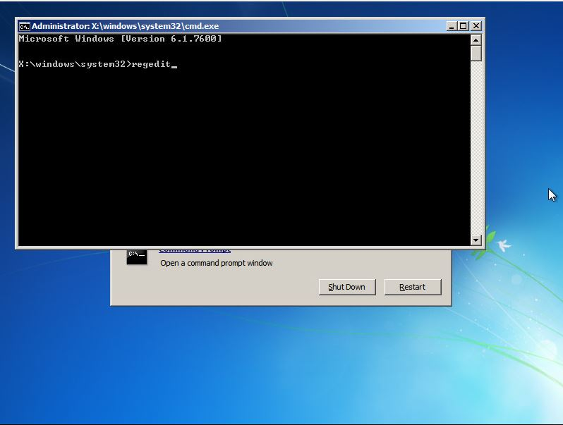 Command Prompt to run registry editor
