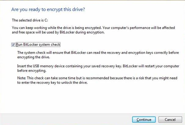 Run BitLocker System Check
