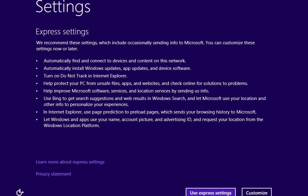 Windows 10 - Express Setting