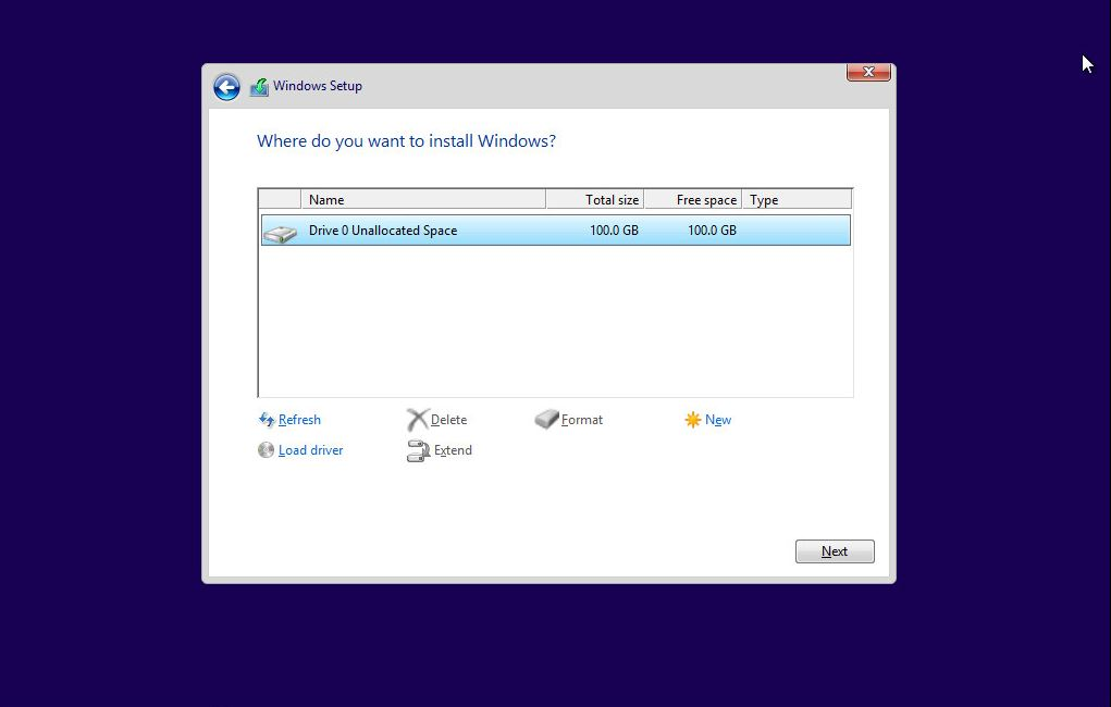 Windows 10 - Disk Selection