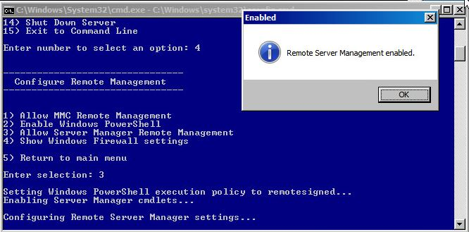 Allowing Server Manager Remote Management