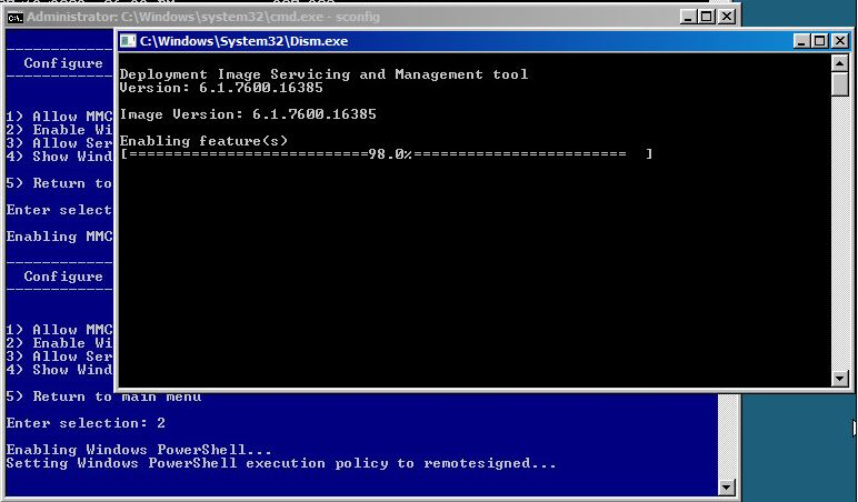 Enable Windows Powershell in sconfig