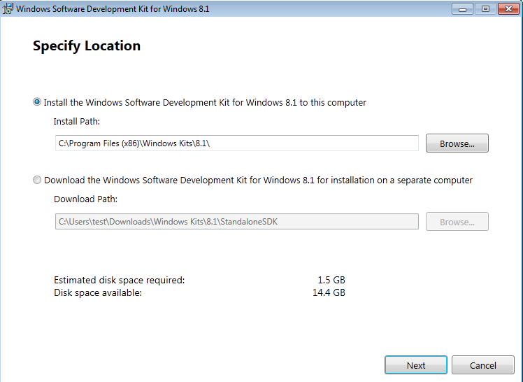 Install or Download option for Windows SDK