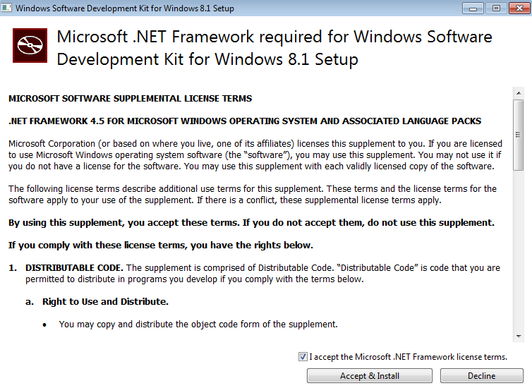 NET framework requirement