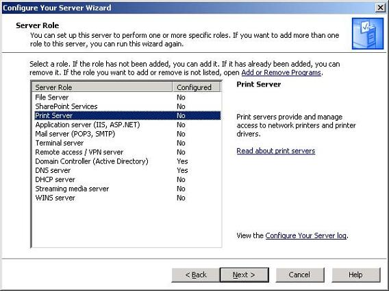 Configure Your Server Windows 2003