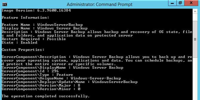 Dism command to add windows backup feature from installation media