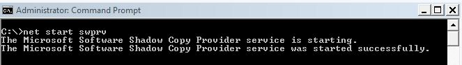 Starting swprv service using elevated command prompt