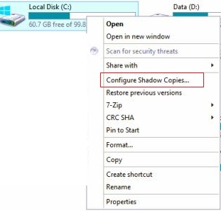 Configuring Shadow Copies